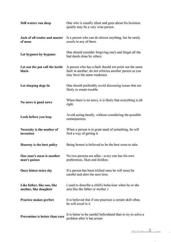 list of english proverbs