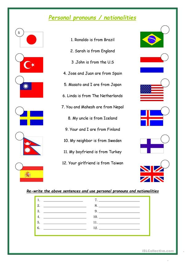 Personal pronouns and Nationalities