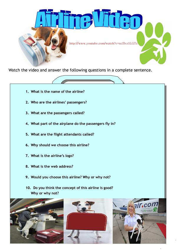 Pet Airways- A listening and speaking activity. (answers included)