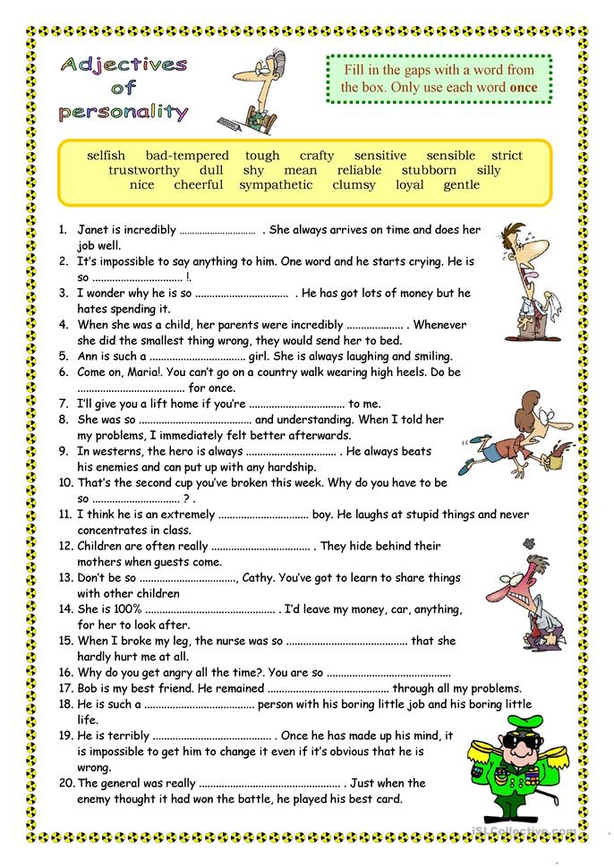 pin personality adjectives worksheet - photo #3