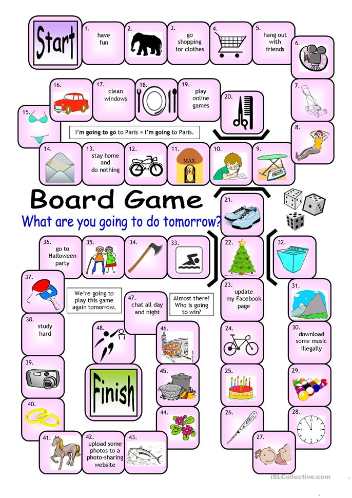 Board Game - What are you going to do tomorrow? - ESL worksheets