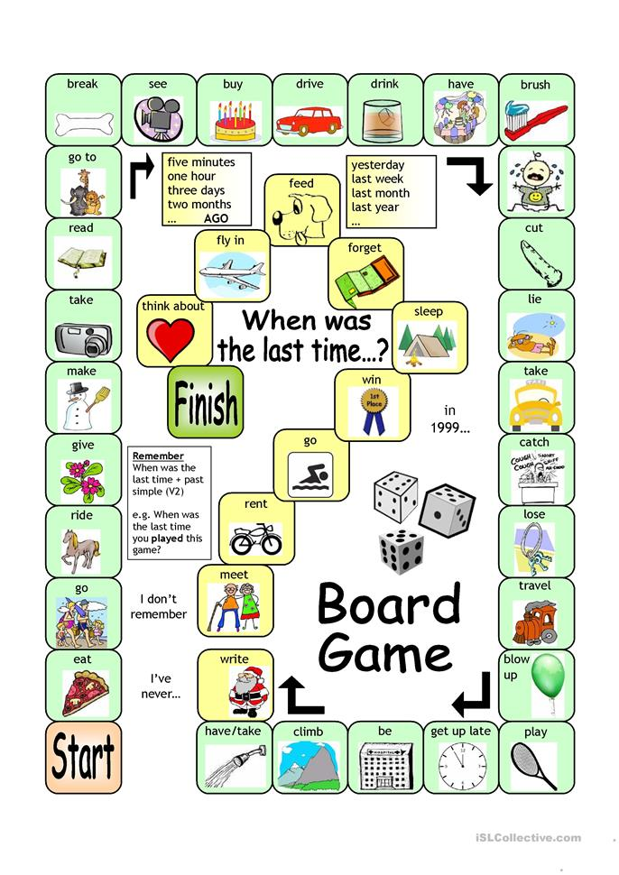 board game when was the last time worksheet free esl printable worksheets made by teachers. Black Bedroom Furniture Sets. Home Design Ideas