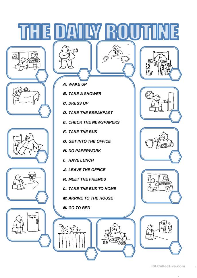 DAILY ROUTINE - ESL worksheets