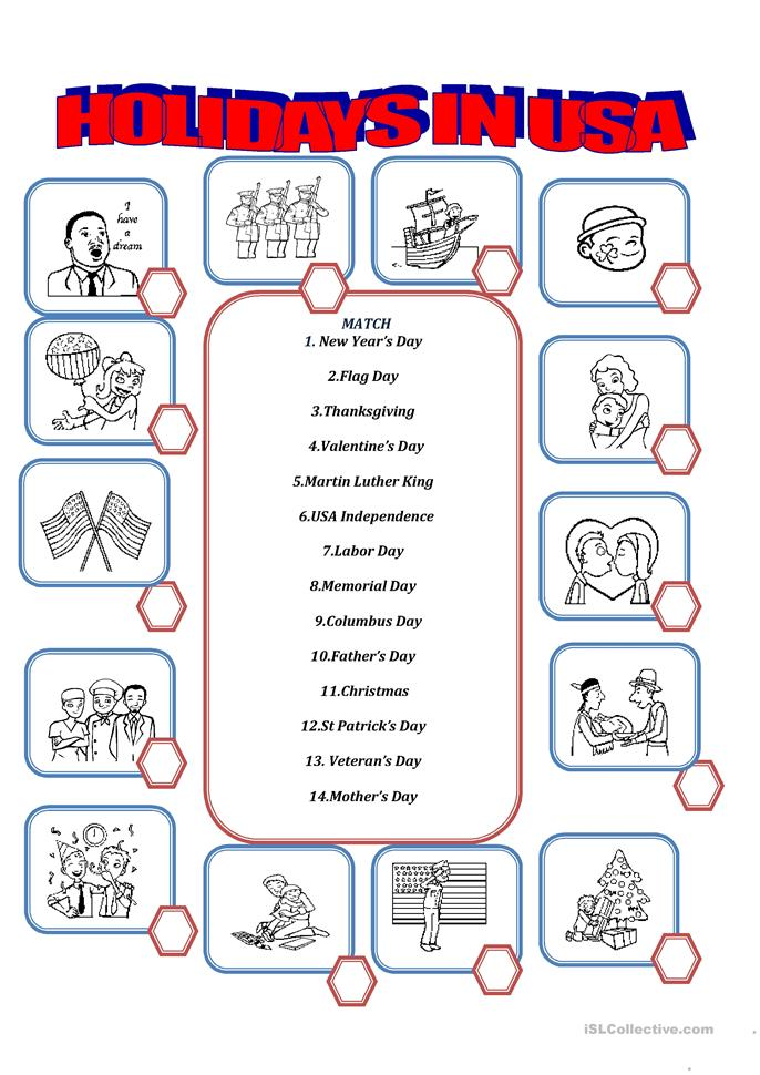 102 FREE ESL United States of America (USA) worksheets