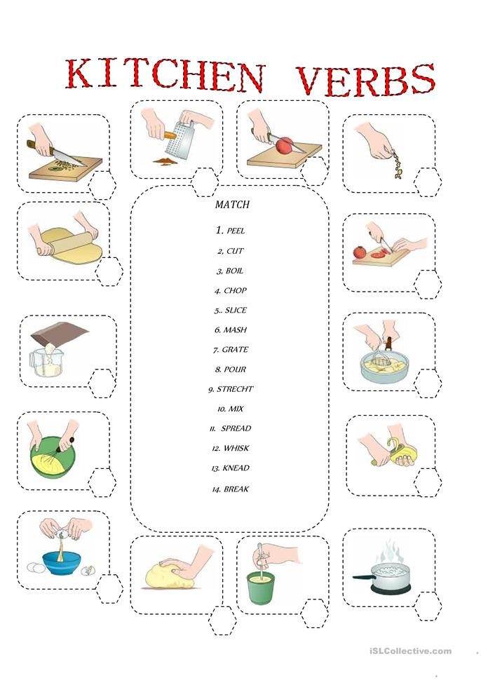 KITCHEN VERBS - ESL worksheets