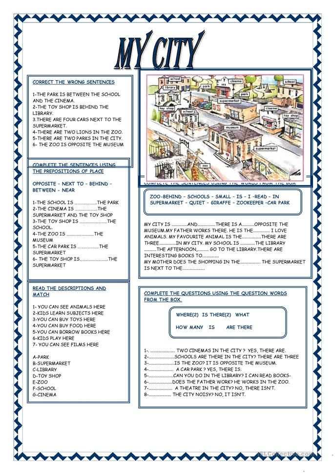 MY CITY - ESL worksheets