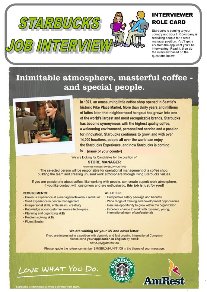 Starbucks job interview (Role play) - ESL worksheets