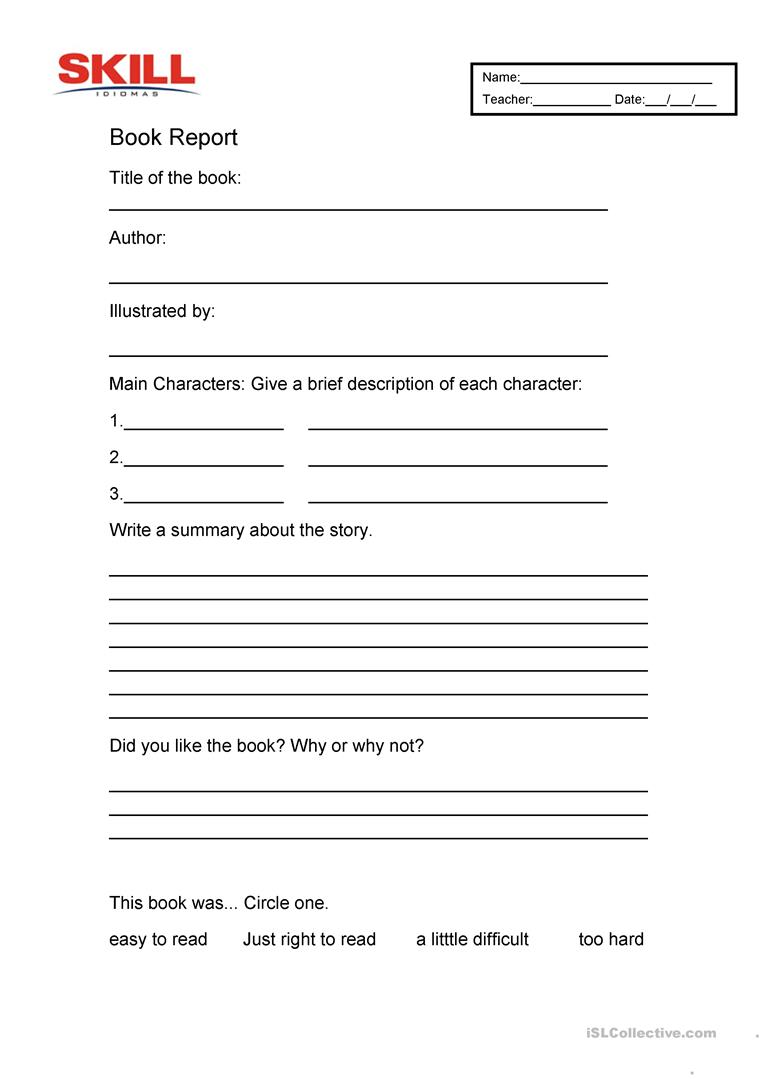 Book Report English Esl Worksheets For Distance Learning And Physical Classrooms