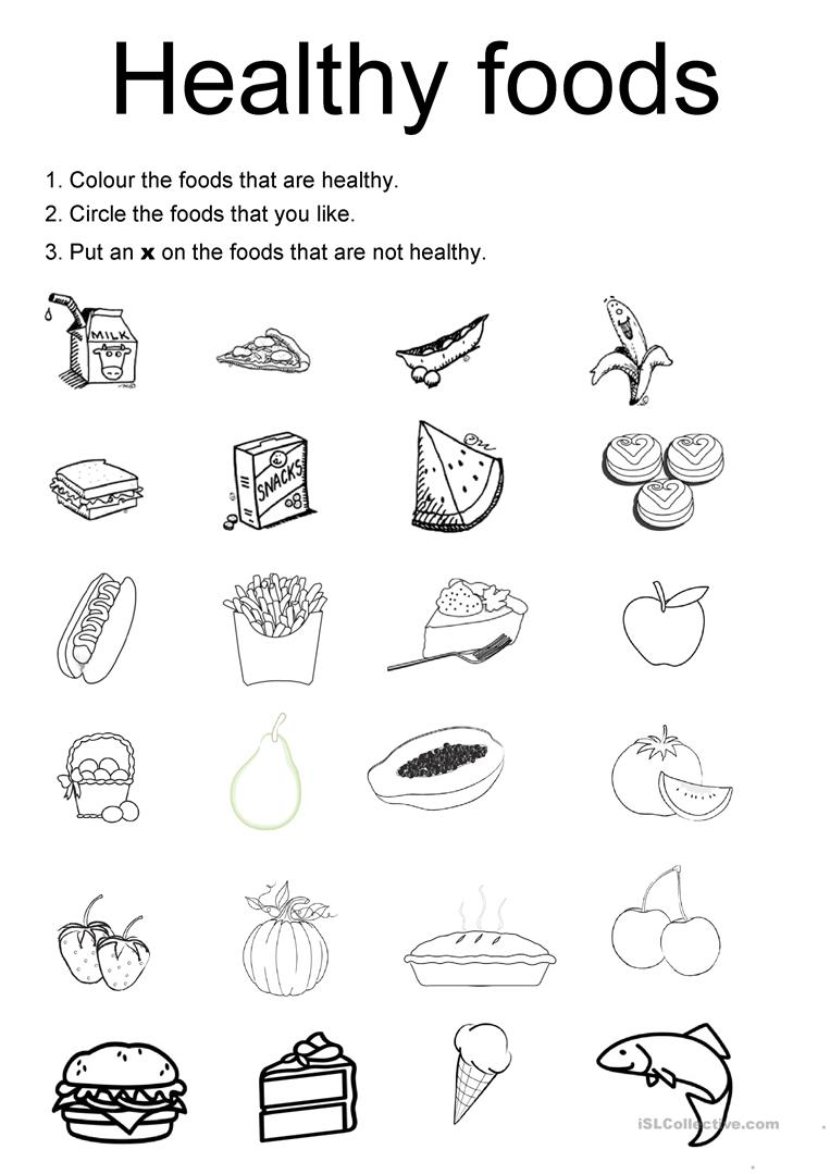 Worksheets Healthy Living Worksheets 100 free esl healthy worksheets foods