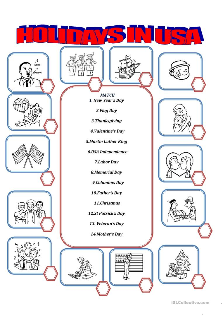 130 FREE ESL United States of America (USA) worksheets