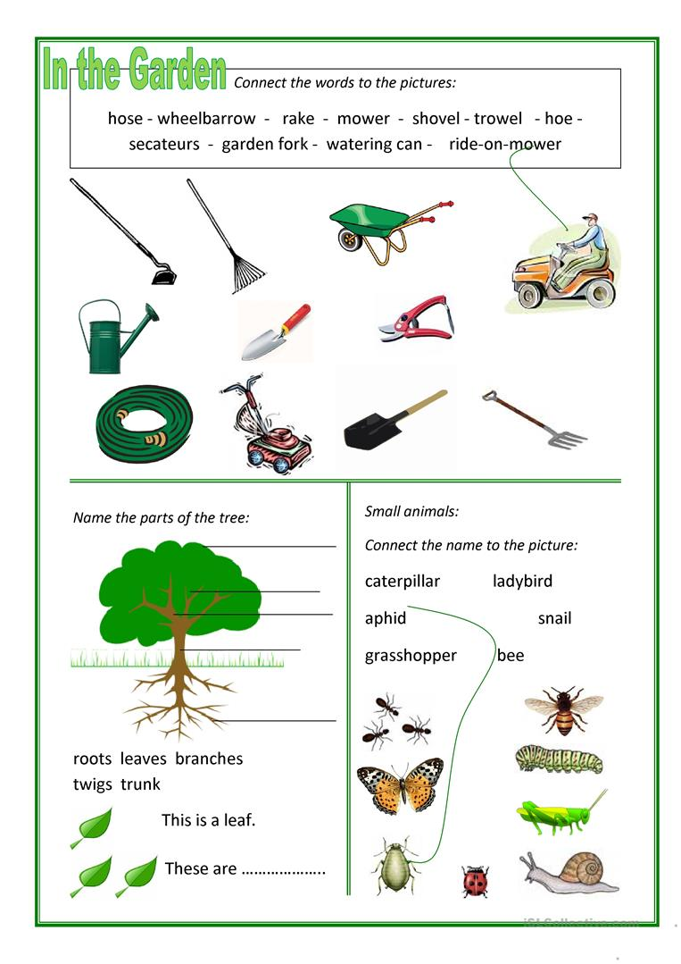 In the garden worksheet free esl printable worksheets for Gardening tools 94 game