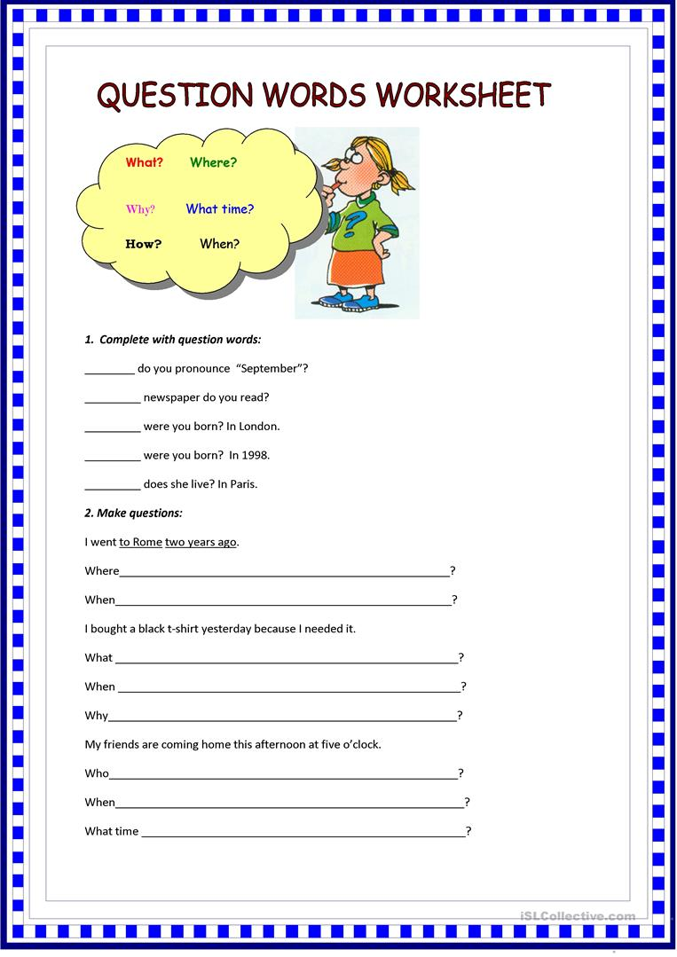 English Worksheets For Teachers : Question words worksheet free esl printable