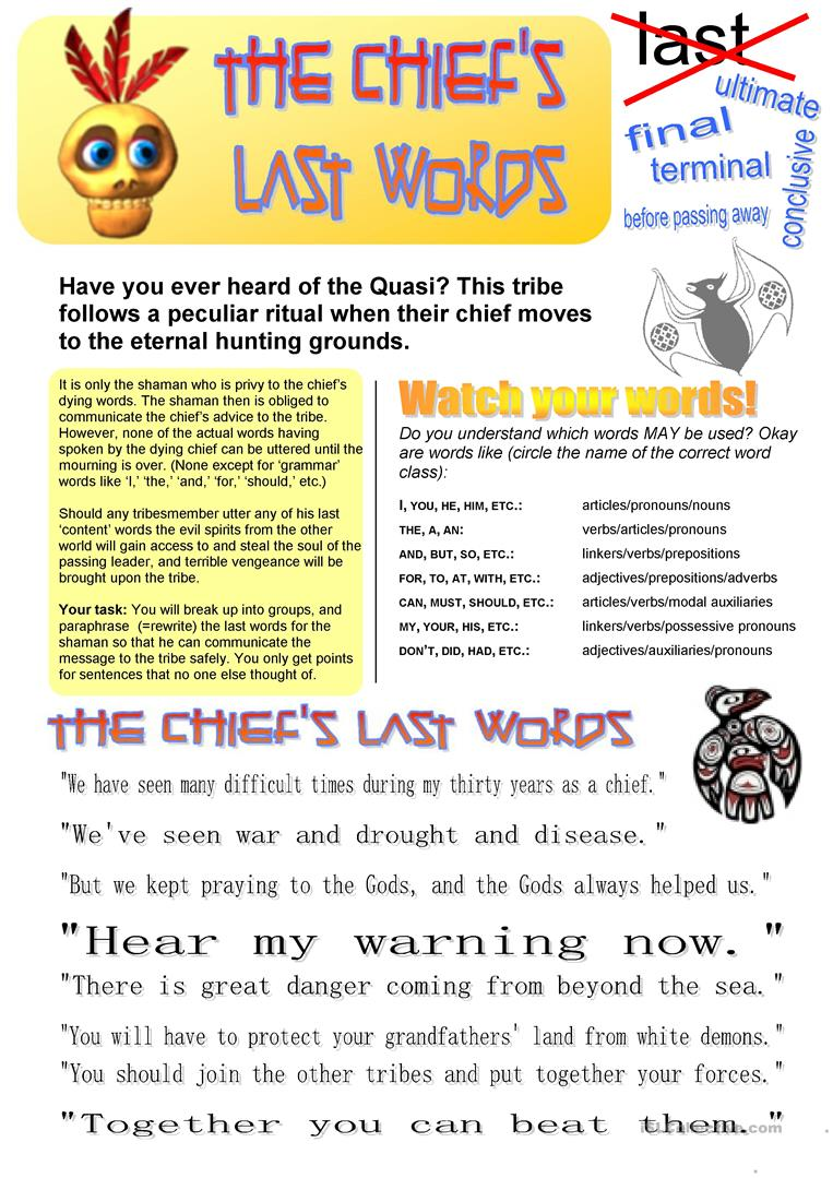 The Chief's Last Words (Sentence transformation) worksheet - Free