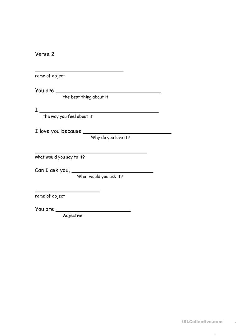How to write an ode poem worksheet