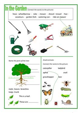 14 free esl gardening worksheets for Gardening tools word search