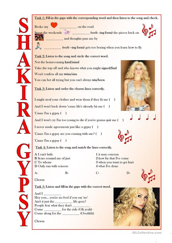 Shakira Gypsy (LISTENING tasks, FULLY EDITABLE and with KEY included)