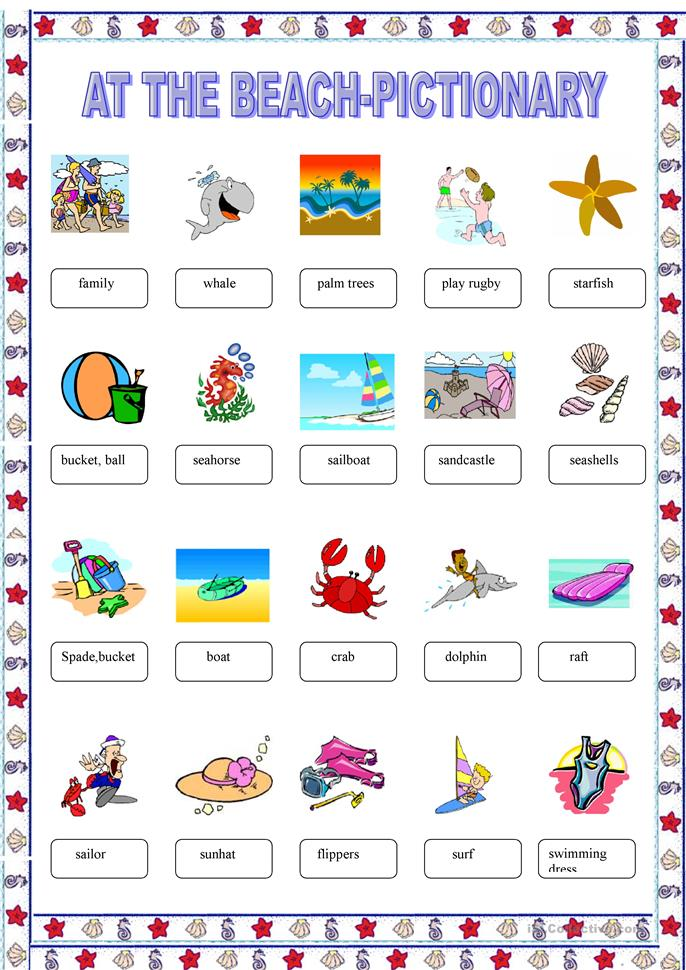 At the beach-pictionary - ESL worksheets