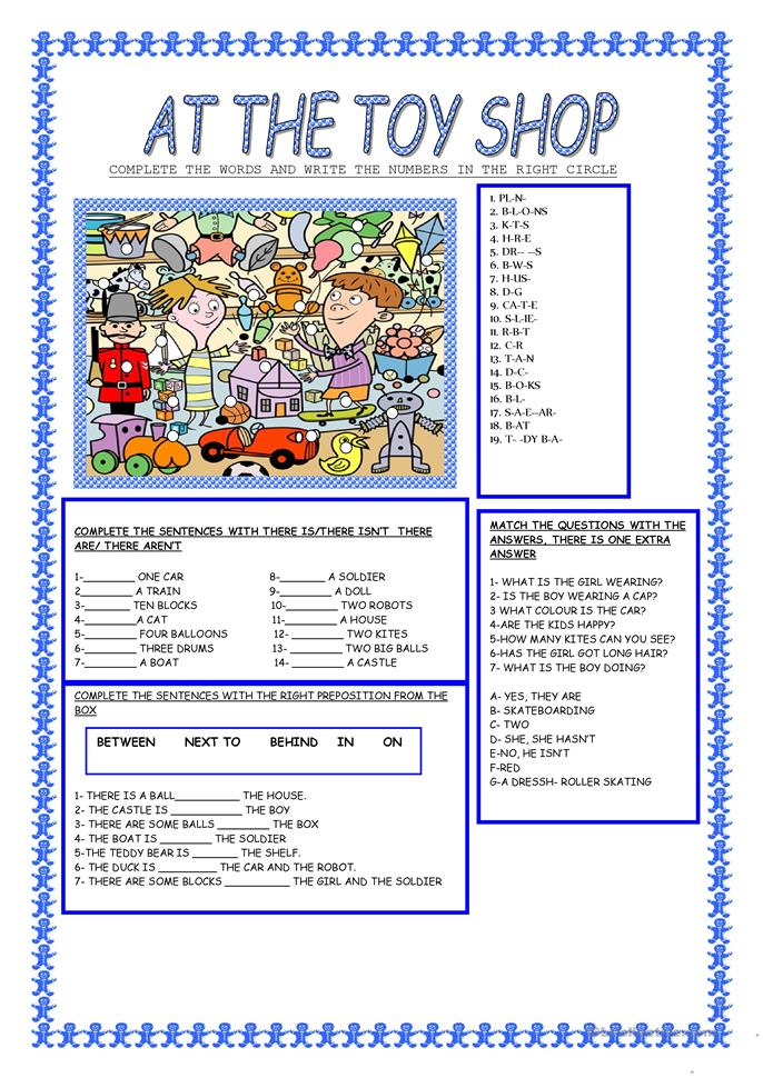 AT THE TOY SHOP - ESL worksheets