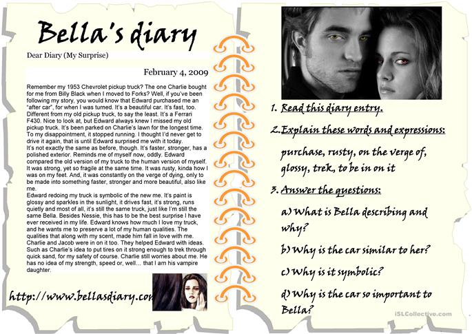 bella dating diary A series of unfortunate events american girl diary of a wimpy kid finding dory harper has since sworn off to dating or bella andre has always.