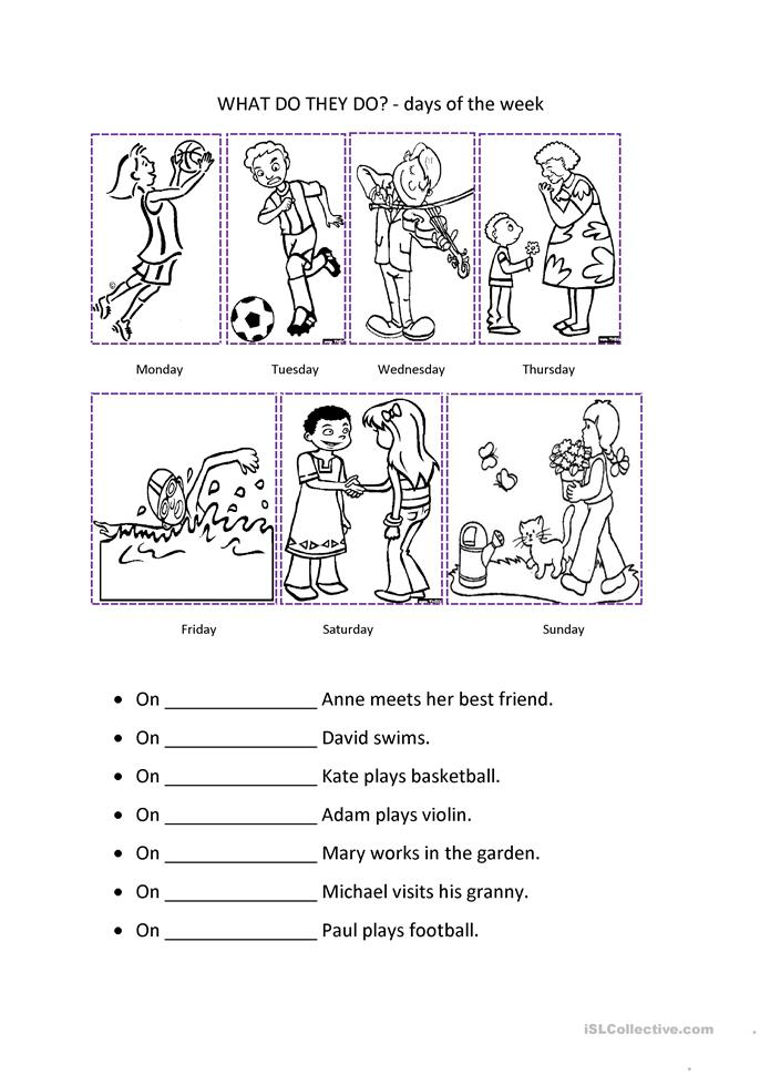 Number Names Worksheets days of the week exercises : 241 FREE ESL Days of the week worksheets
