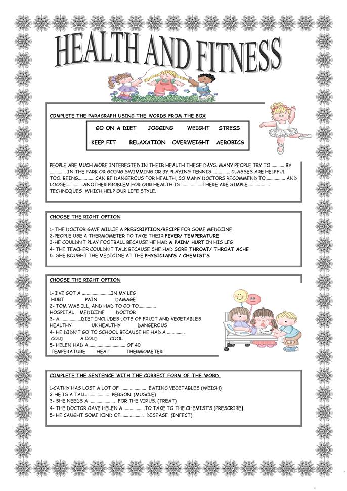 Worksheets Free Health Worksheets health worksheets free mental therapy and fitness worksheet esl printable made