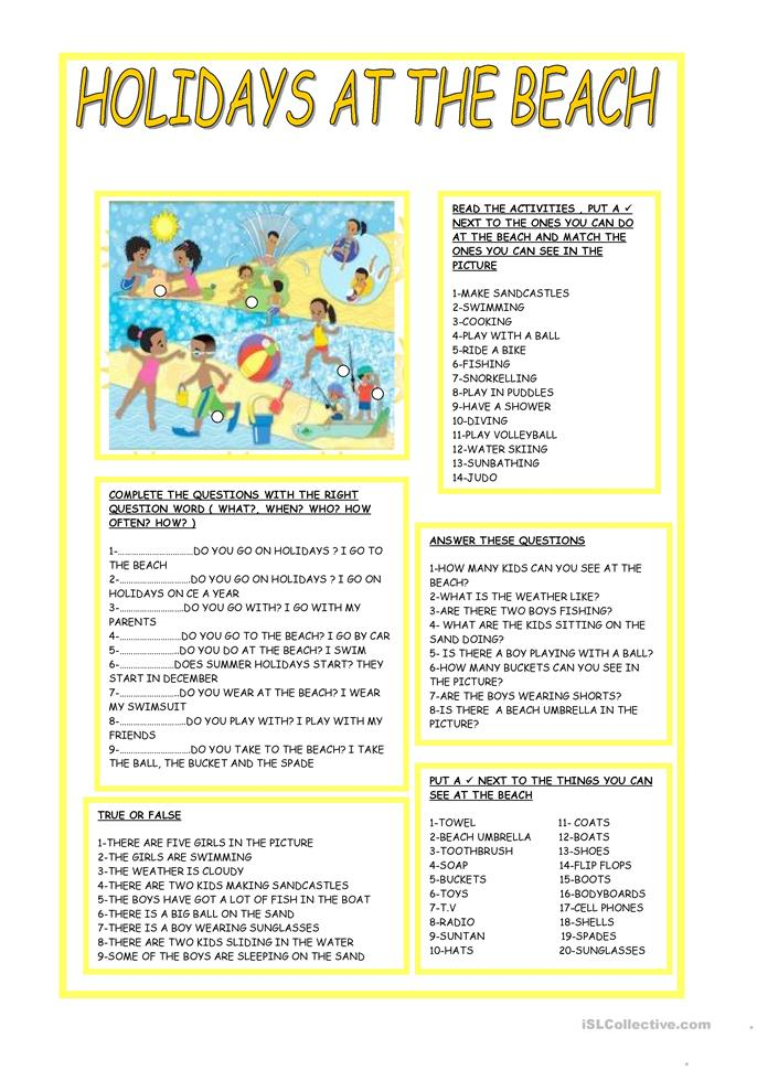 HOLIDAYS AT THE BEACH - ESL worksheets
