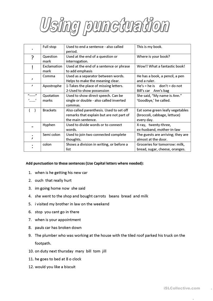 Punctuation - ESL worksheets