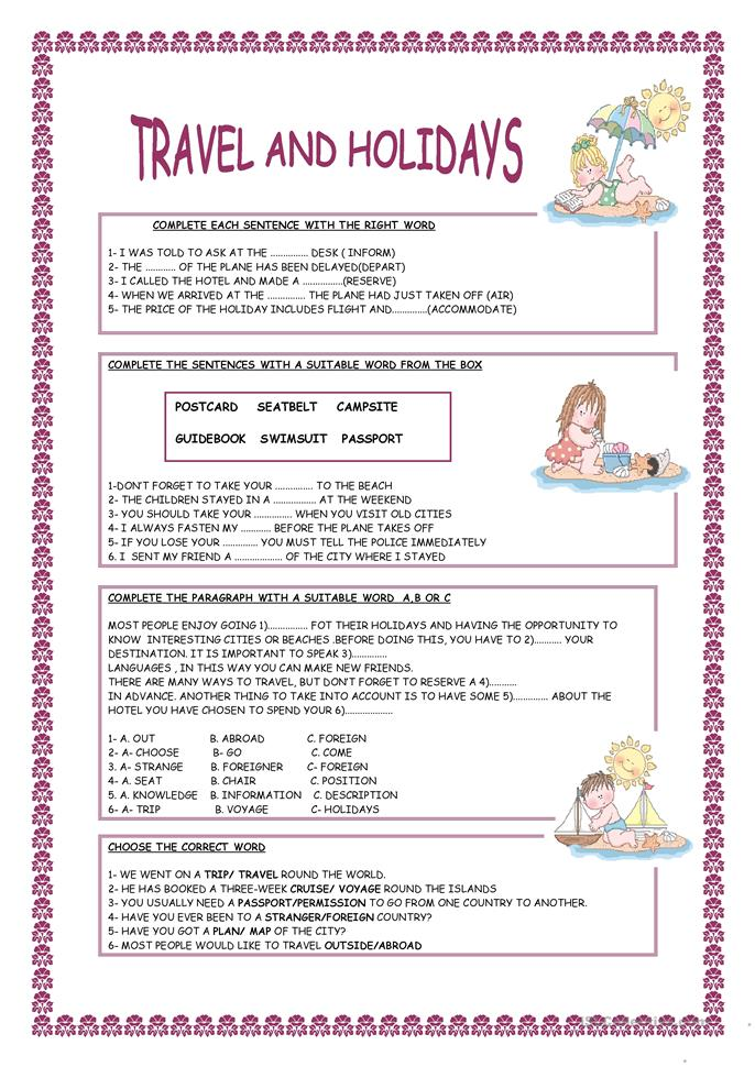 TRAVEL AND HOLIDAYS - ESL worksheets