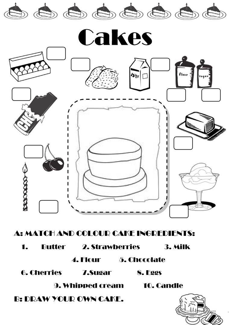 Cake Worksheet Free Esl Printable Worksheets Made By