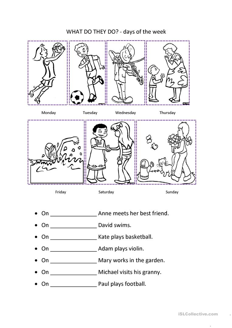 worksheet Days In A Week Worksheet 190 free esl days of the week worksheets week