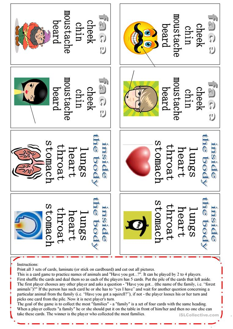Parts of the body - card game worksheet - Free ESL ...