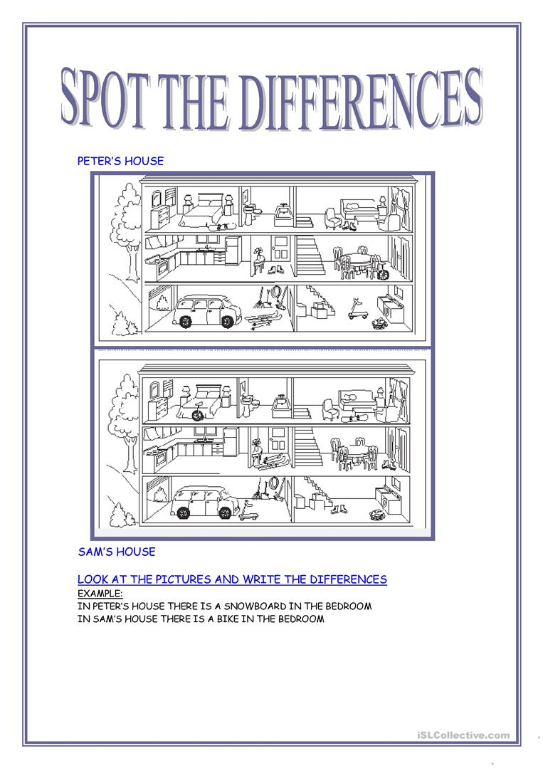 37 Free Esl Spot The Difference Worksheets
