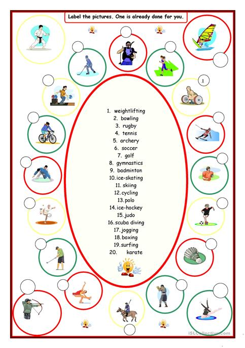 Sports (label the pictures) worksheet - Free ESL printable ...