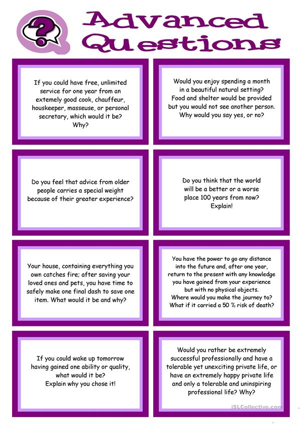 ADVANCED Conversation Promptcards about VALUES, BELIEFS, ETHICS