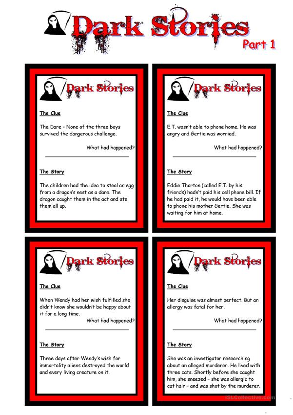 ADVANCED SPEAKING CARDS - Dark Stories - Yes/No Questions