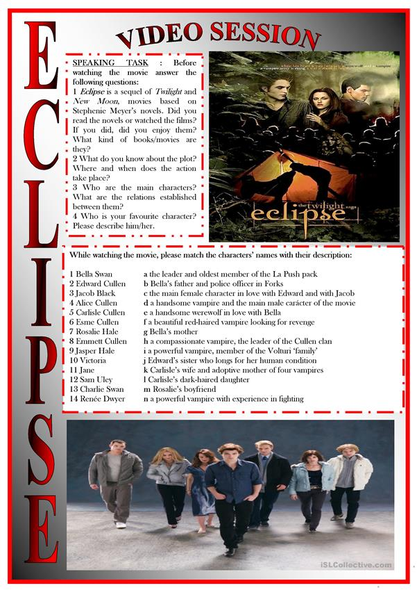 ECLIPSE movie-based activity (FULLY EDITABLE-KEY INCLUDED)