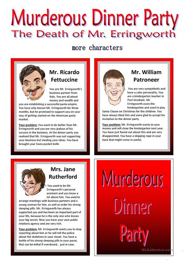 Murderous Dinner Party - ROLEPLAY - Conversation Cards - 7 Pages