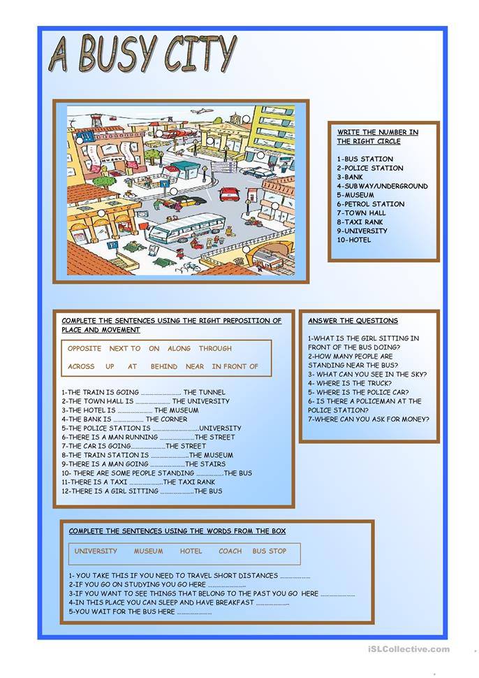 Free Printable Worksheets For Teachers : A busy city worksheet free esl printable worksheets made