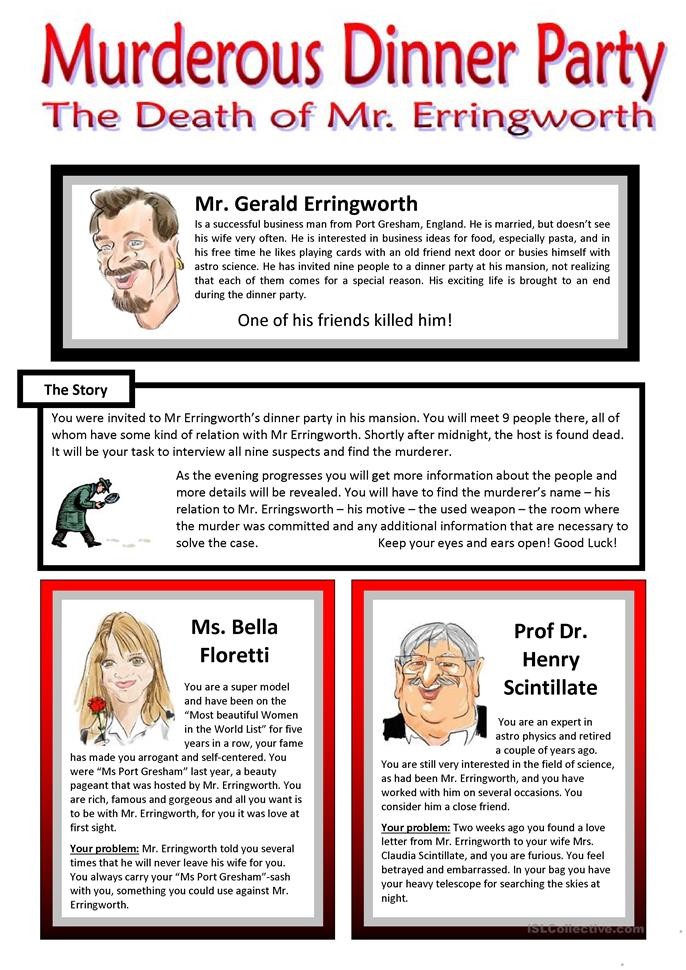 Murderous Dinner Party - ROLEPLAY - Conversation Cards - 7 Pages - ESL worksheets