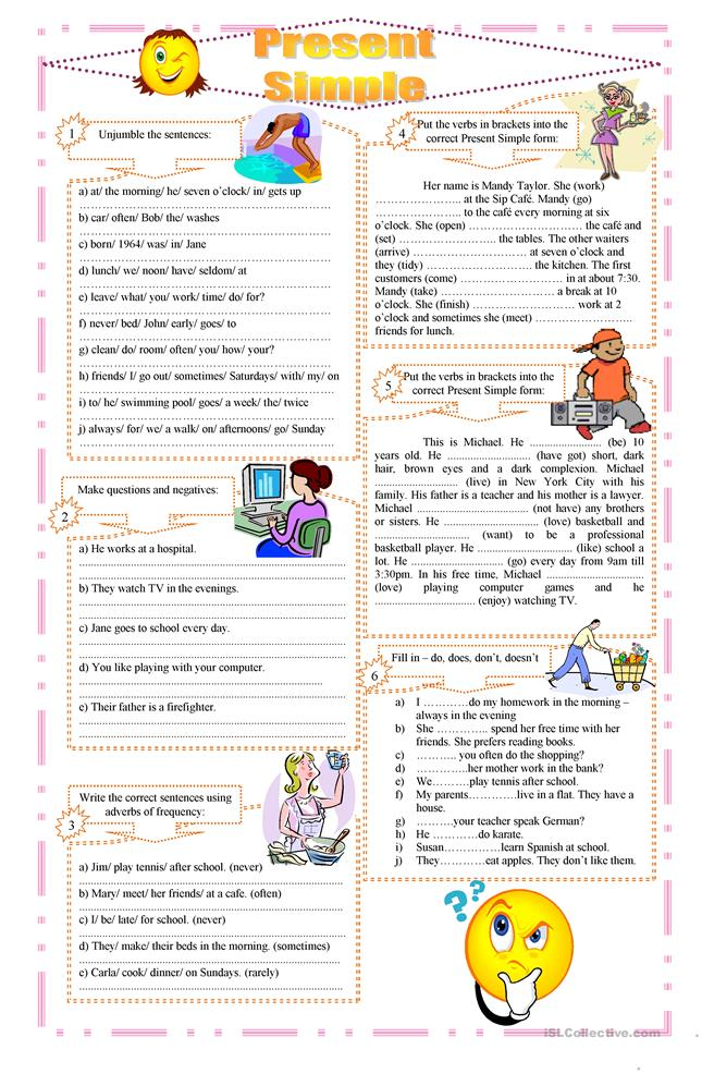 Present Simple exercises - ESL worksheets