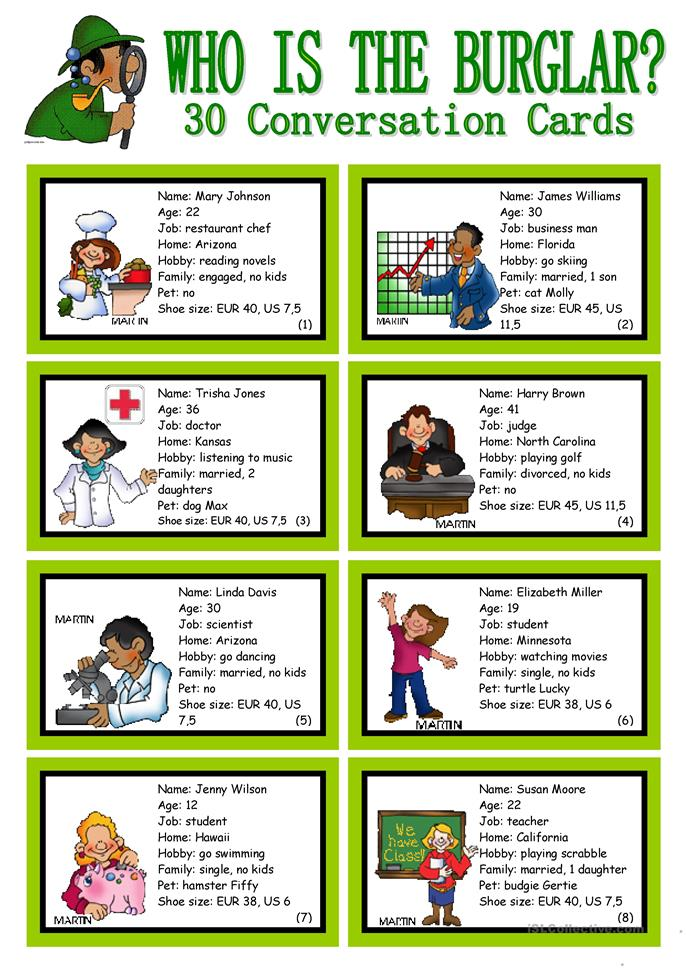 WHO IS THE BURGLAR? - 30 Conversation Cards - Roleplay - Class and ... - ESL worksheets