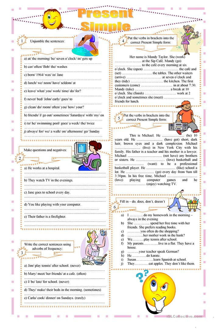 Present Simple exercises - English ESL Worksheets
