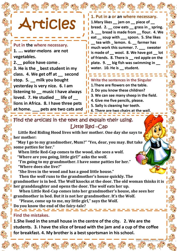 Articles - ESL worksheets
