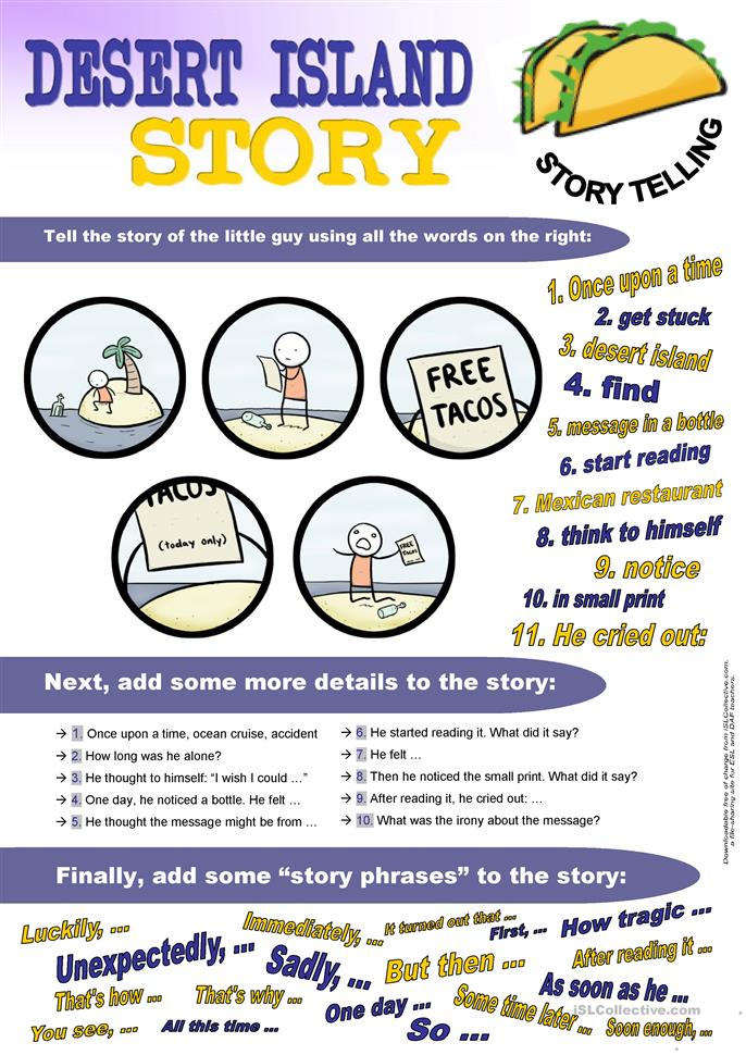 Desert Island Story (Storytelling based on picture prompt) - ESL worksheets