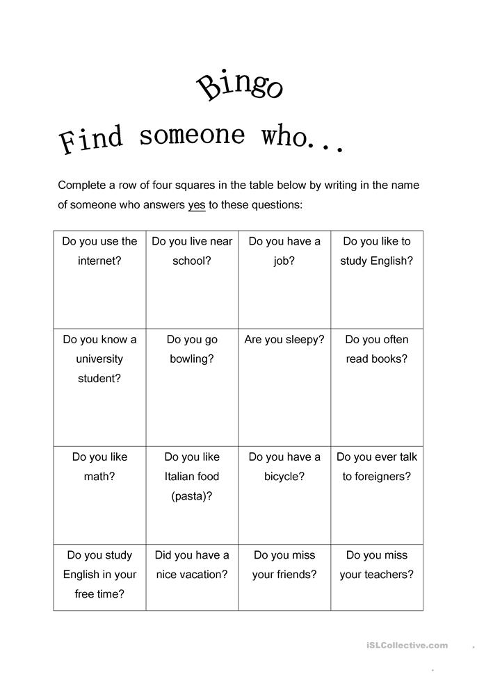 FInd Someone Who Bingo-Present Simple - ESL worksheets