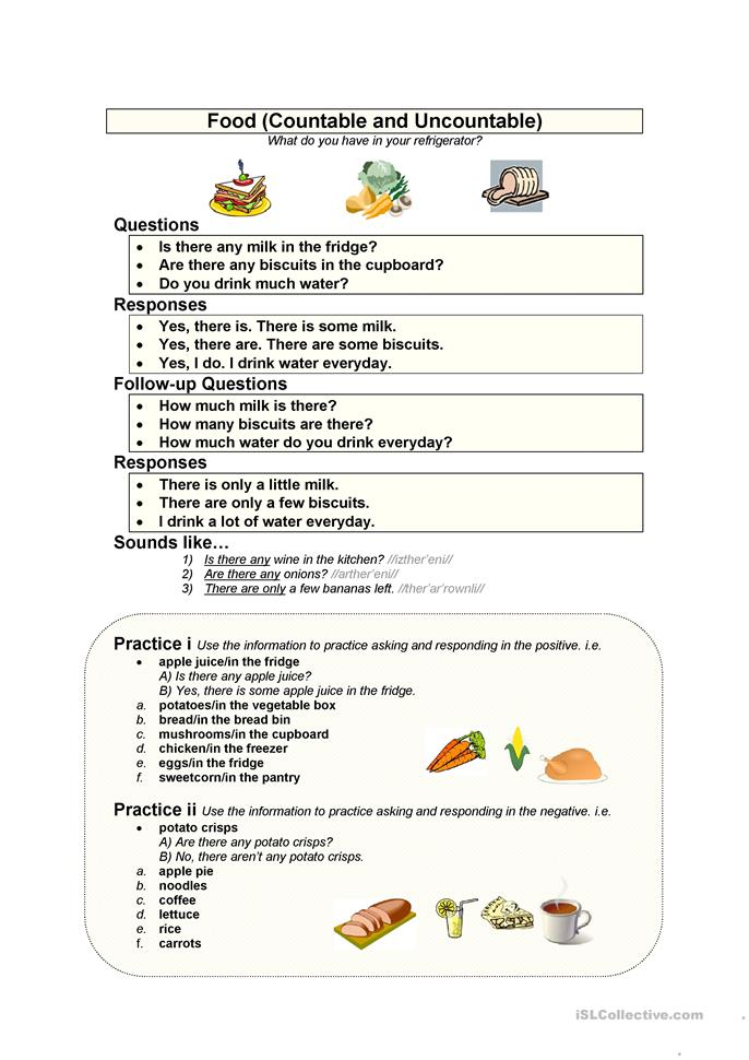 Food (Countable & Uncountable) - ESL worksheets
