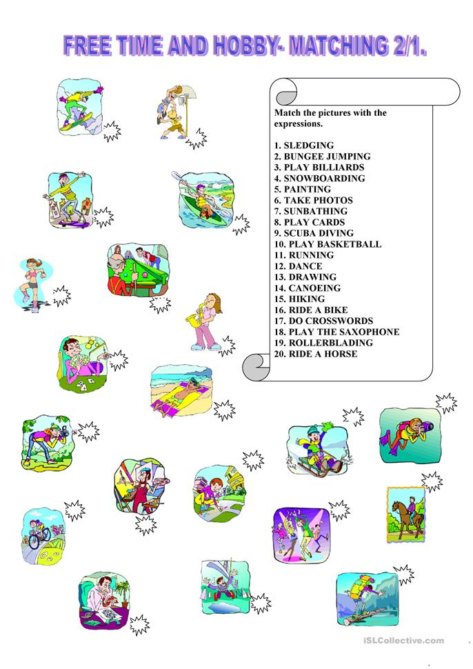 Free time and hobby matching 2/1. - ESL worksheets