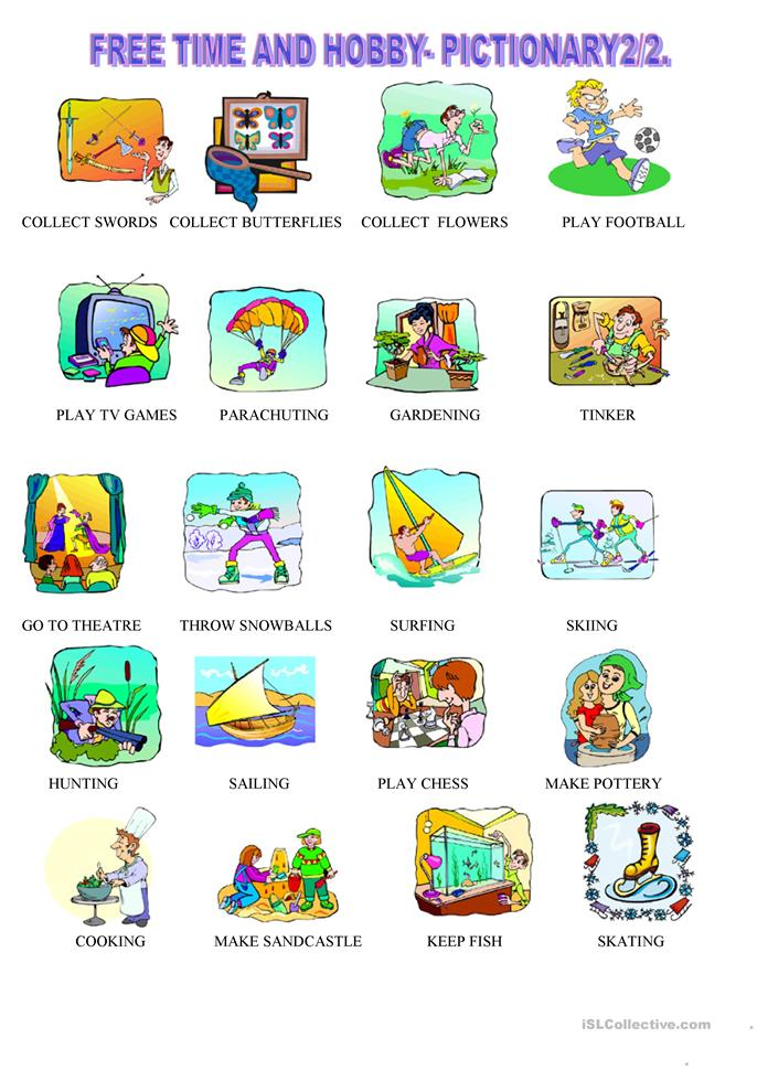 210 FREE ESL Free time, leisure activities worksheets