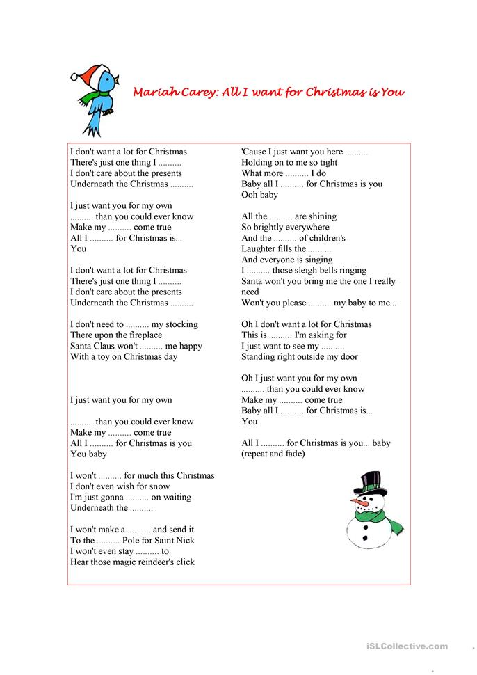 Listening exercise (Mariah Carey: All I want for Christmas is You) worksheet - Free ESL ...