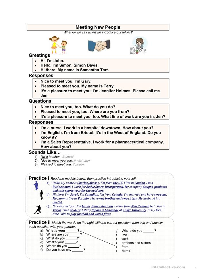 Meeting New People - ESL worksheets